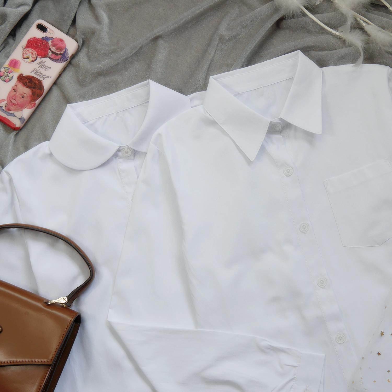 基础款长袖白衬衫制服 日系JK学院风女生打底学生衬衣角襟圆襟45.00元包邮