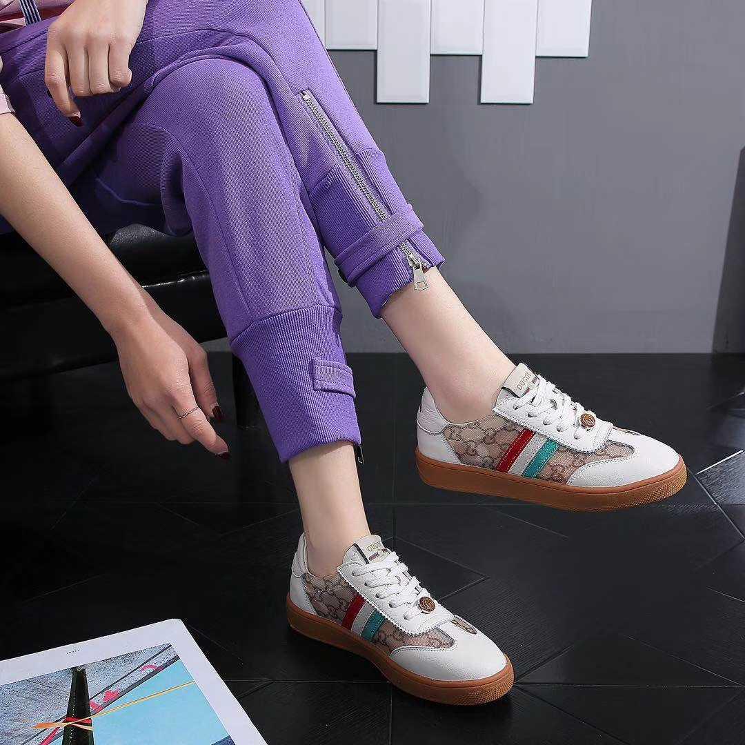 透气网小白鞋2020夏季新款百搭平底酷奇板鞋真皮运动休闲鞋单鞋