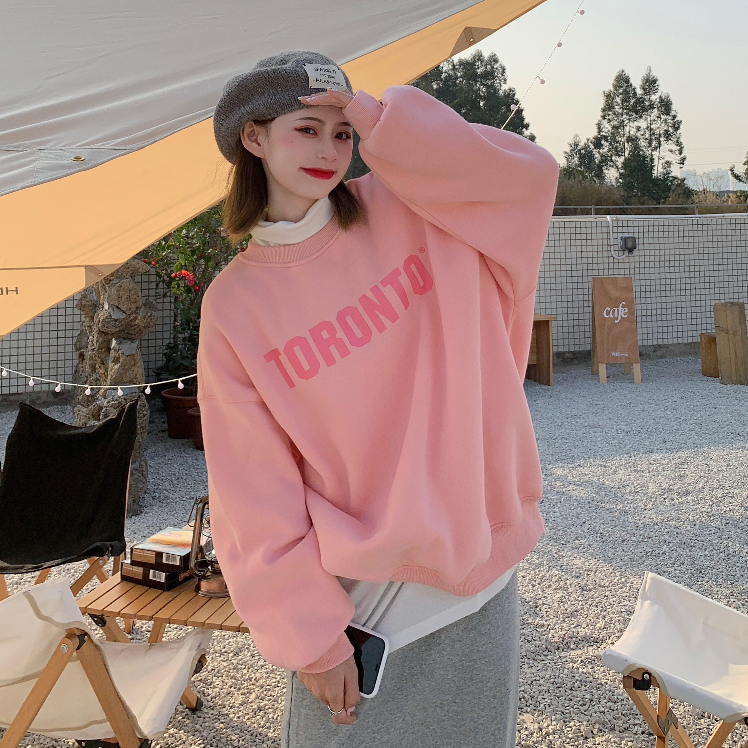 Korean loose round neck letter printed sweater 2021 spring new fashion Hoodie long sleeve womens jacket