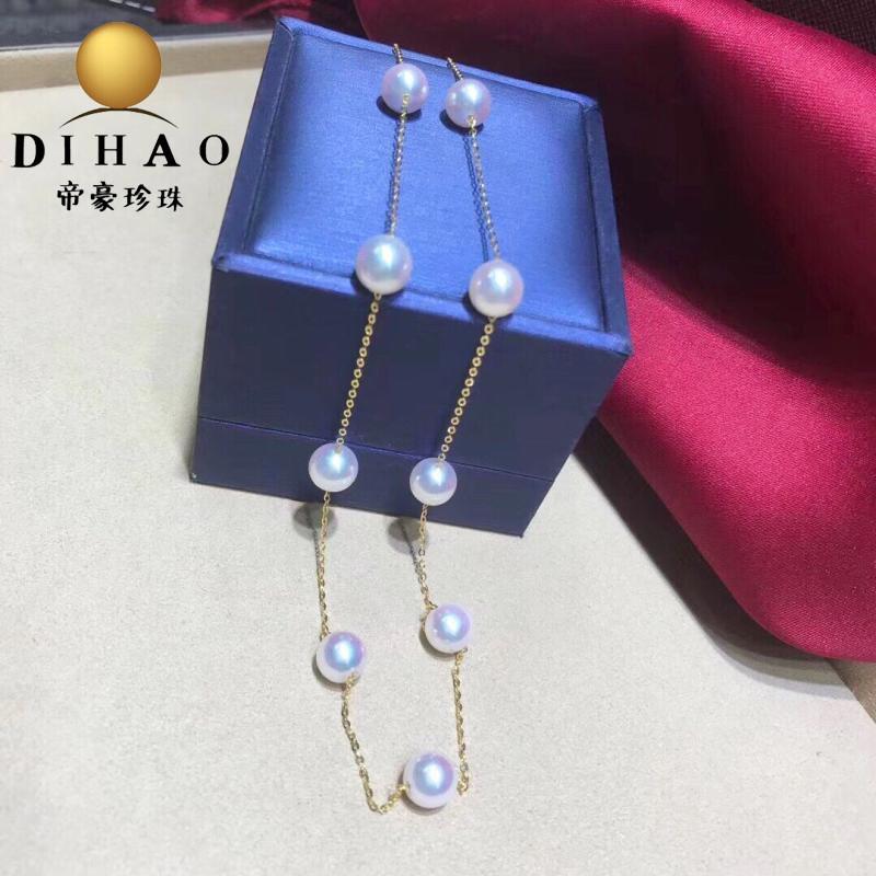 天然akoya海水珍珠项链日本天女樱花粉18K金满天星项链气质时尚女
