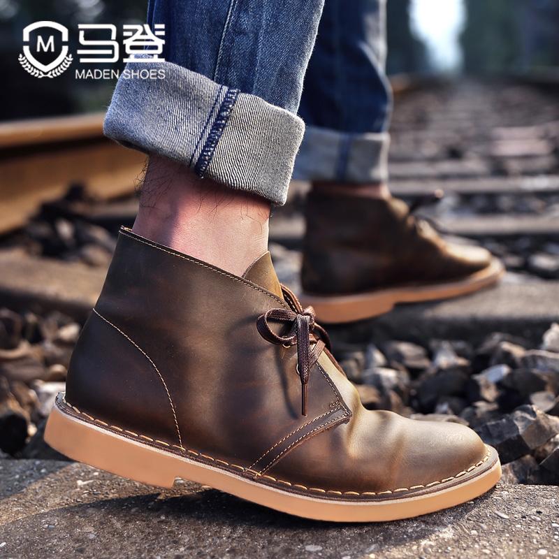 马登工装男鞋复古英伦风中帮疯马皮马丁靴春秋真皮短靴男士沙漠靴