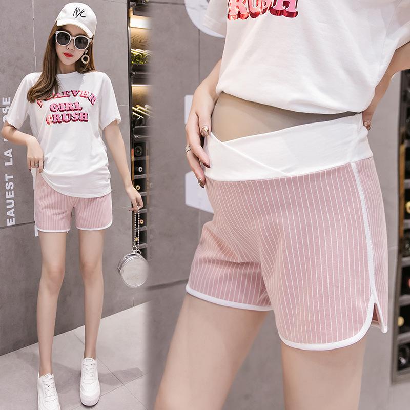 纯色棉夏季新款孕妇低腰条纹运动休闲短裤度假热裤百搭安全打底裤