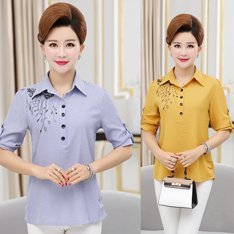 S31 summer middle-aged blouse temperament middle-aged and old mothers summer big womens inch clothes embroidered top
