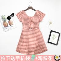 韩国泳衣女裙式连体保守显瘦遮肚小胸少女清新格子遮肉性感泳装