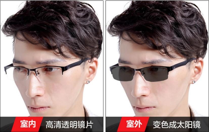 鎢碳塑鋼正品半框男平光變色感光防輻射藍光可配近視電腦手機眼鏡