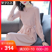 2018 Autumn New Long Sleeve Small Fragrance Long Bow Tie Heavy Industry Beaded Sweater Knit Dress
