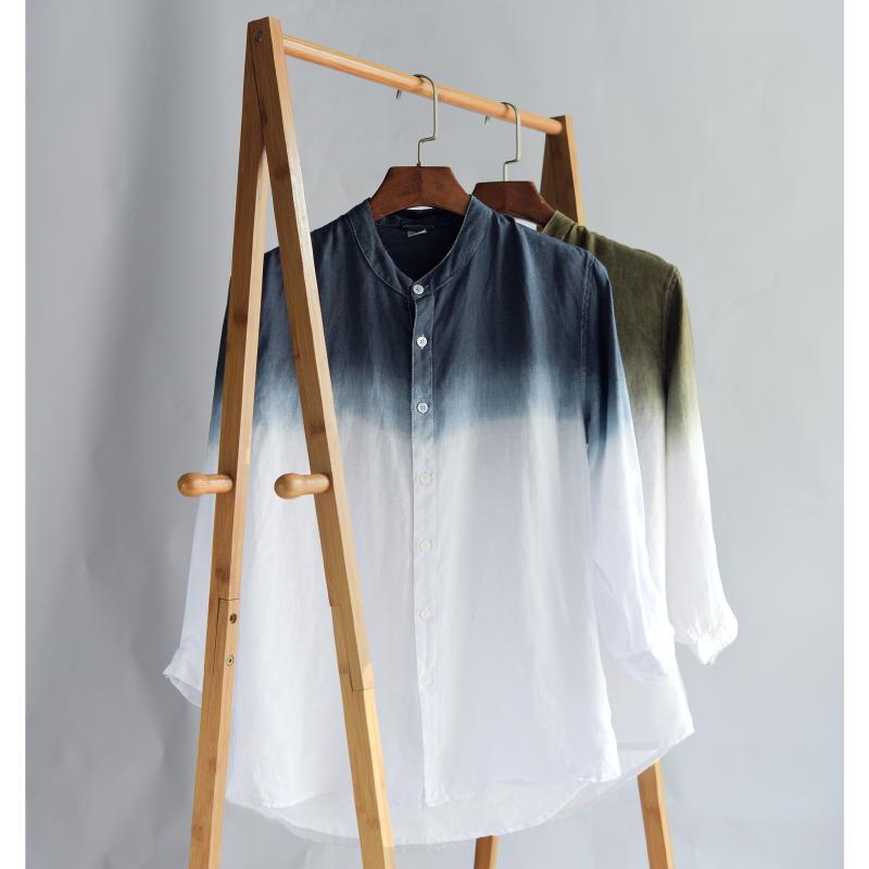 Fresh and gradual fashion 7-point medium sleeve Linen Shirt Mens casual stand collar youth loose thin cotton linen shirt