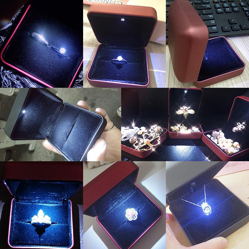 高档求婚戒指盒 结婚珠宝首饰绒布礼物盒饰品单戒包装盒项链盒子