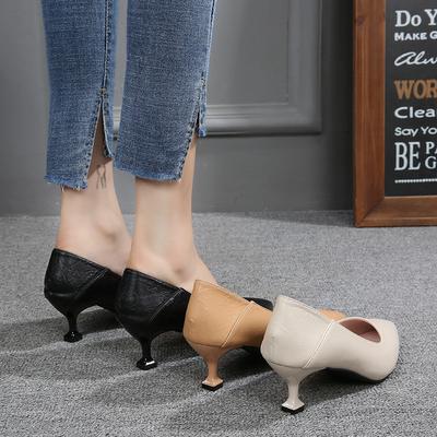 鞋子女2020春款潮鞋单鞋小高跟百搭中跟5cm小跟3cm猫跟尖头工作鞋