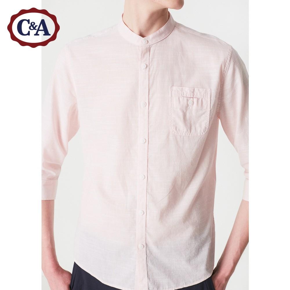 C & A của Nam Giới Màu Rắn Đơn Giản Giản Dị Cắt Tay Áo Sơ Mi Mùa Hè Bông Đứng Cổ Áo Sơ Mi CA200207178-BD áo sơ mi nam tay dài