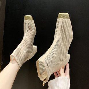 潮鞋新款网靴中跟网纱镂空凉鞋粗跟靴子2019马丁靴女夏季短靴透气
