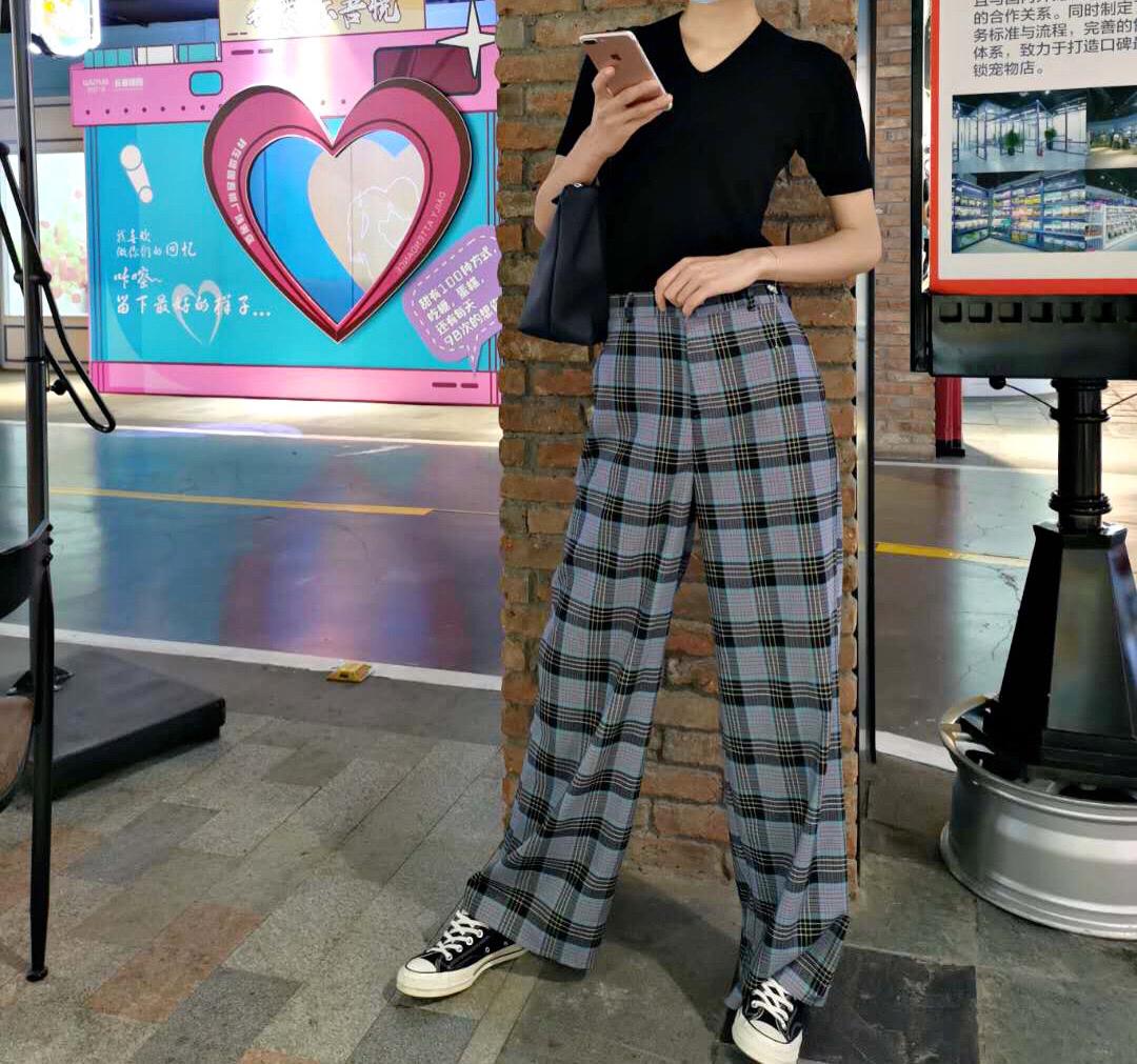 ZHIZHI支支 2020韩版高腰直筒格子休闲女夏季阔腿裤薄款 格纹长裤