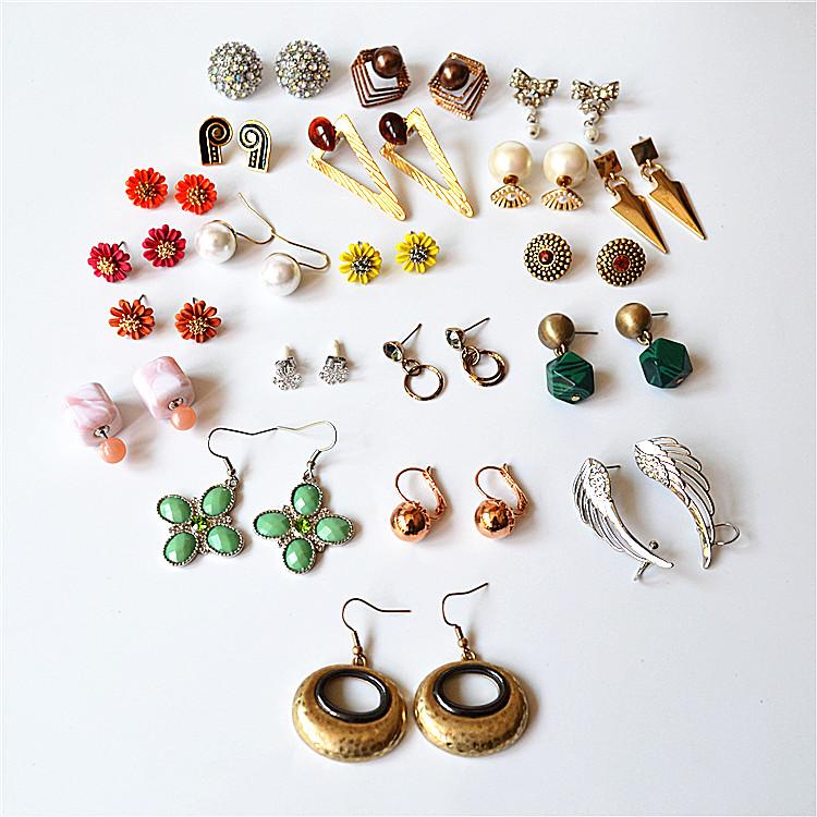 欧美气质百搭个性时尚花朵宝石珍珠高级感可爱优雅新款耳钉耳饰女
