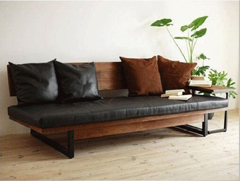LOFT美式沙发复古铁艺实木沙发椅组合工业风民宿店铺双人皮革沙发