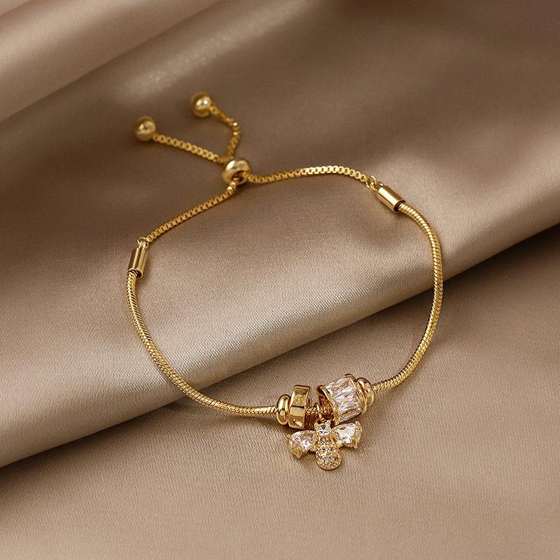 蛇链锆石蜜蜂手链网红气质学生闺蜜情侣手镯手环ins小众设计手饰