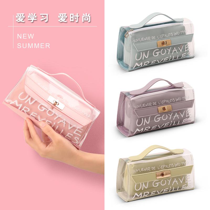 韩国简约笔袋创意可爱小清新文具盒女初中小学生大容量铅笔盒透明