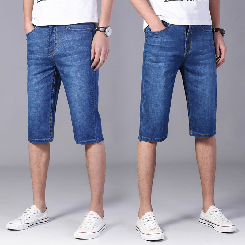 Summer thin casual jeans shorts mens straight tube loose fit large horse pants mens five point casual pants