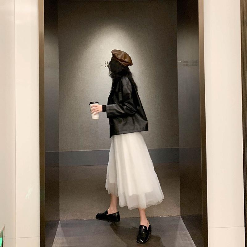 (用5元券)网纱半身裙秋冬女高腰显瘦适合胯大腿粗的中长款a字蓬蓬白色纱裙