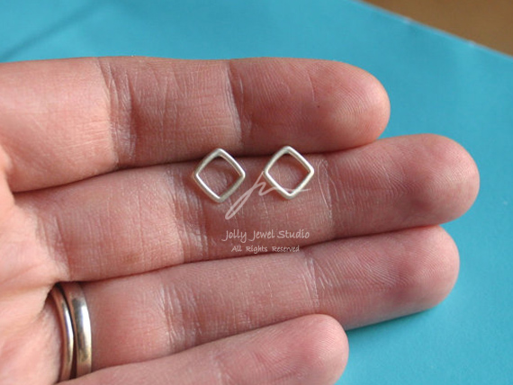 99 Pure Silver Plain Silver geometric square Round Earrings original customized designer handmade European and American style
