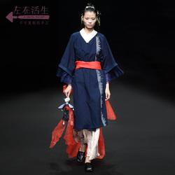 生活在左2019夏季新品浅杏色半身裙中长款文艺气质雪纺百褶裙子女