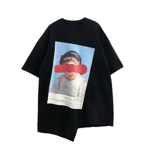 黑色中长款印花t恤裙2019夏新下衣