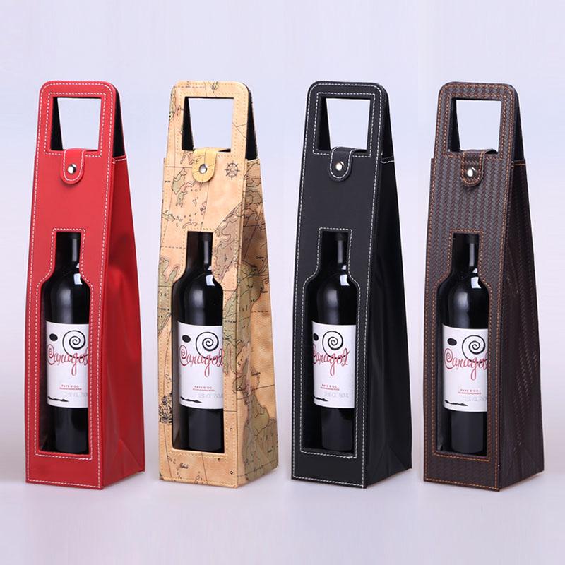 红酒盒 葡萄酒包装 礼盒 通用 现货  皮盒 单支装PU皮袋多款颜色 Изображение 1