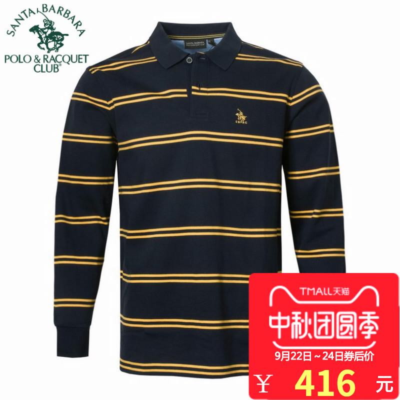 POLO圣大保罗专柜正品休闲男装纯棉翻领横间条纹长袖T恤PS15KT116
