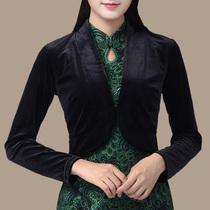 金丝绒百搭配旗袍穿的外套开衫披肩小坎肩短款春秋女大码外披外搭
