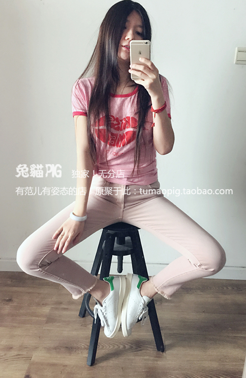 Rabbit and cat poison! Super beautiful! Rare rubber powder used low waist jeans, 8-9 pants, small leggings, big size