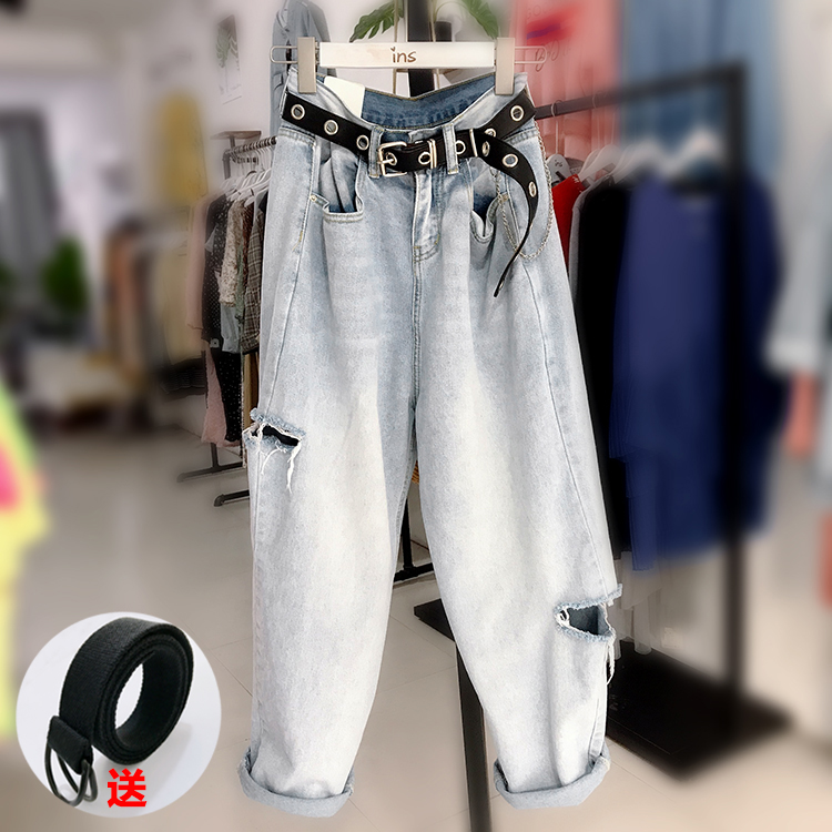 Baggy jeans with holes, high waist and thin in autumn and winter