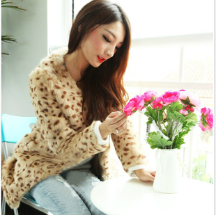 Cheap 2015 Discounted fur coat leopard fur leopard fur coat rabbit fur coat lady
