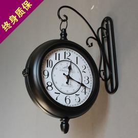 复古铁艺钟静音欧式双面钟美式乡村田园客厅挂钟工艺时钟两面挂表
