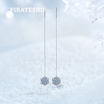 Pirate boat Silver South Korean temperament snowflake fringed ear line long female Japanese Korean fashion simple earrings silver Earrings