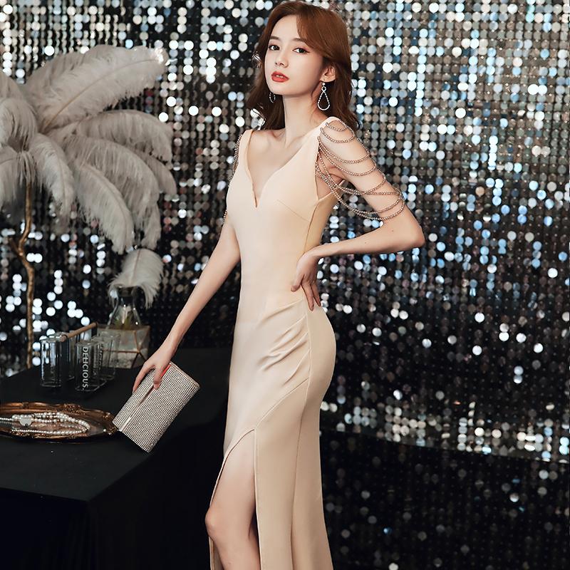 年会高端晚礼服女2021新款宴会气质名媛高贵鱼尾裙丝绒质感主持人