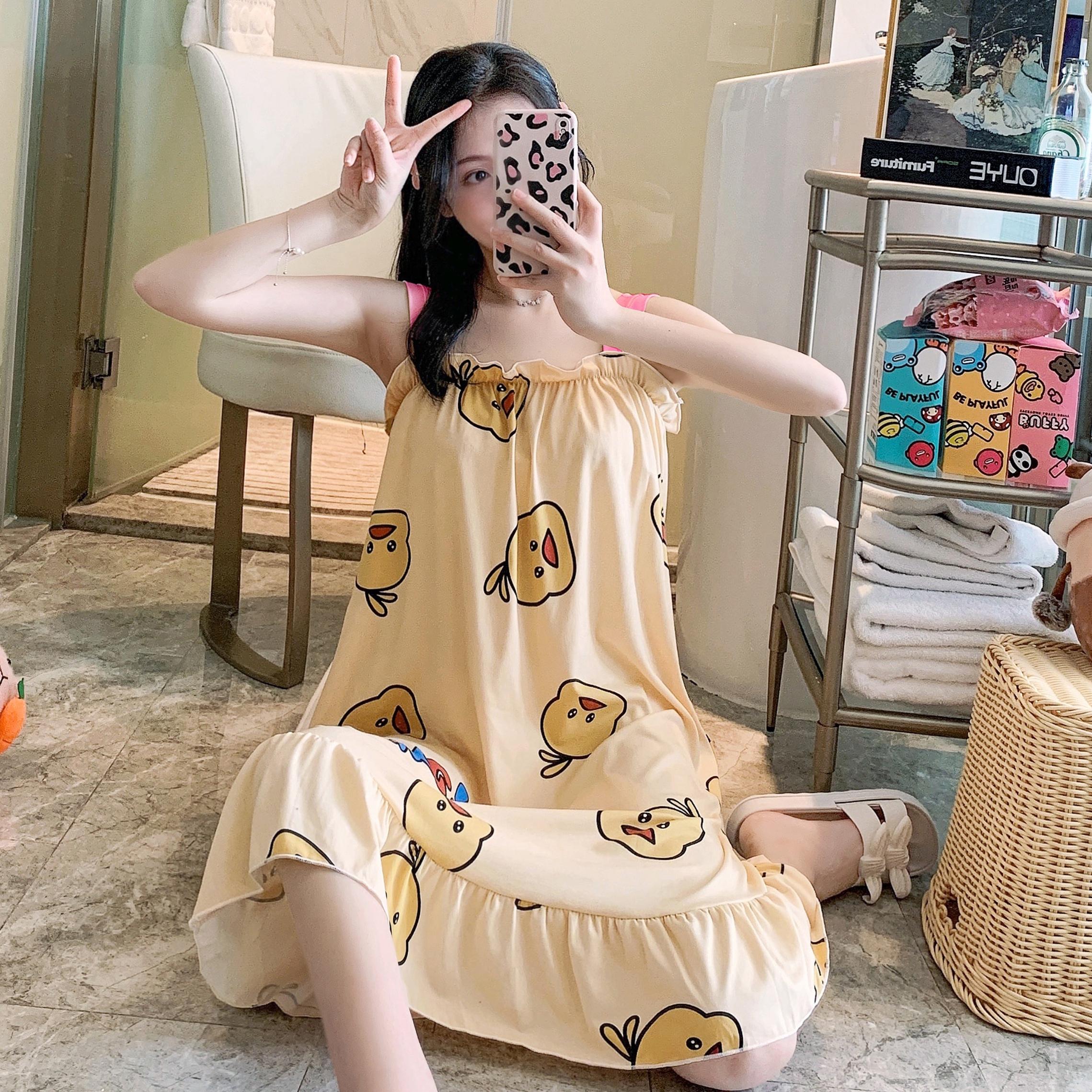 华丽#夏季吊带睡裙女甜美卡通可爱家居服宽松休闲睡衣女加肥加大
