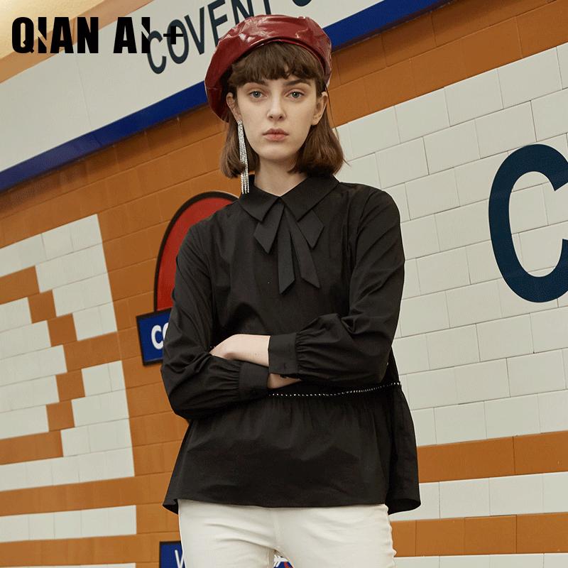 芊艾大码女装2019年秋季新品蝴蝶结套头小衫可爱减龄长袖0730