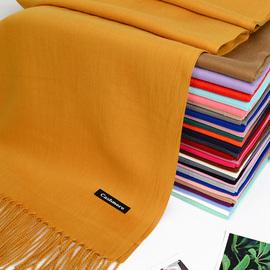 围巾女秋冬季韩版百搭纯色加厚保暖流苏仿羊绒男学生英伦两用披肩图片