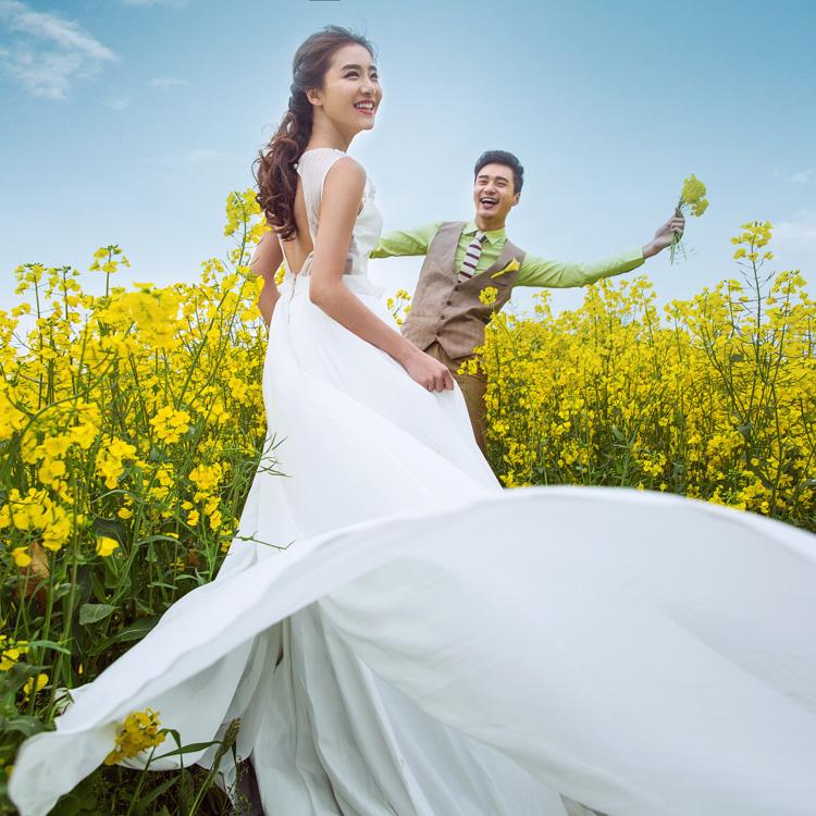 2018年全新影楼婚纱样照 高端唯美外景清新油菜花主题放大样片