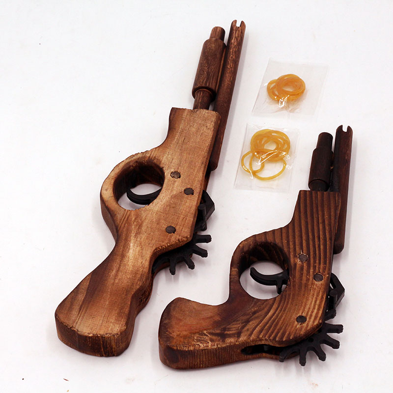 手工雕刻木头枪打皮筋手制枪小双管木枪木制儿童玩具礼品厂家包邮