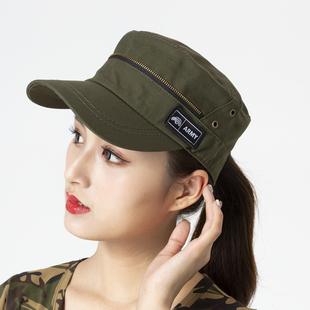 新款水兵舞帽户外迷彩帽子男女军绿色平顶帽夏 纯棉棒球帽遮阳帽