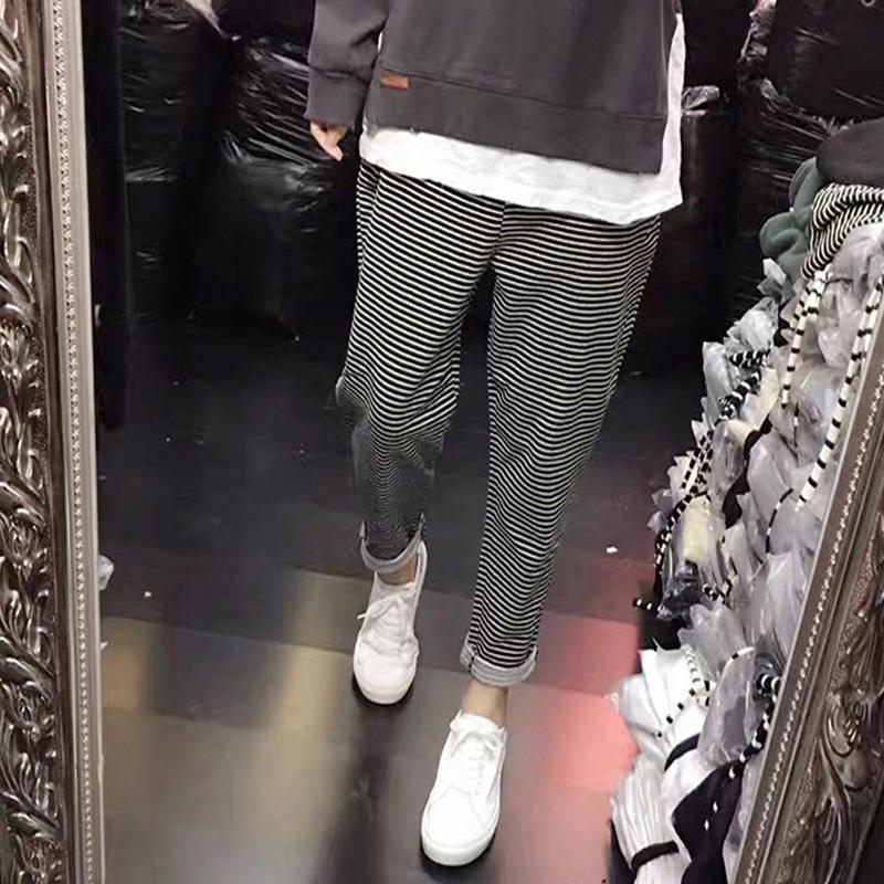 韩版春夏新品宽松条纹裤小脚哈伦裤