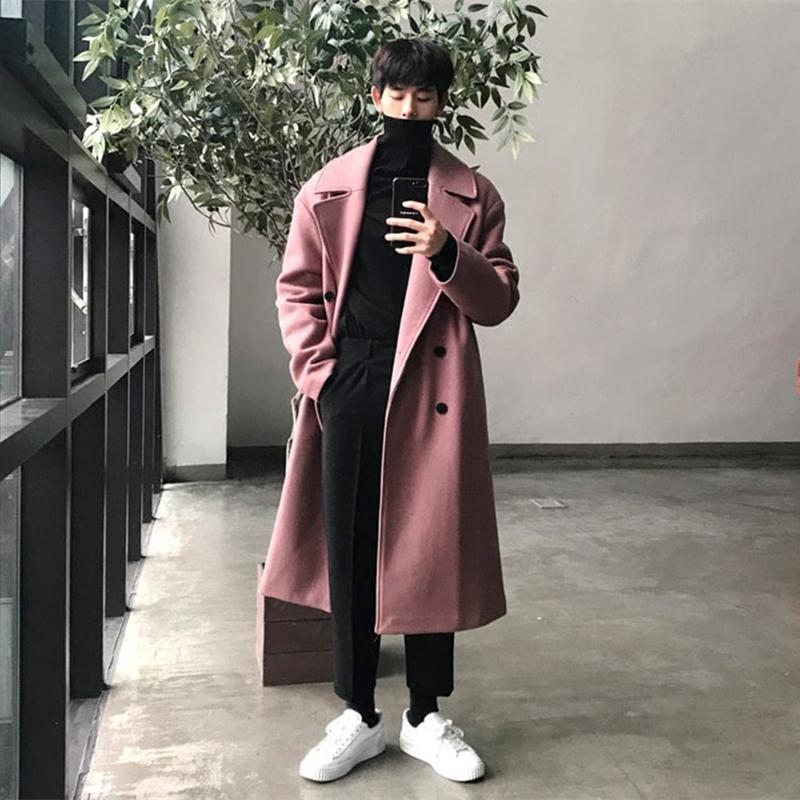 秋冬新品粉色羊绒大衣男长款过膝韩版双排扣毛呢大衣男宽松外套潮