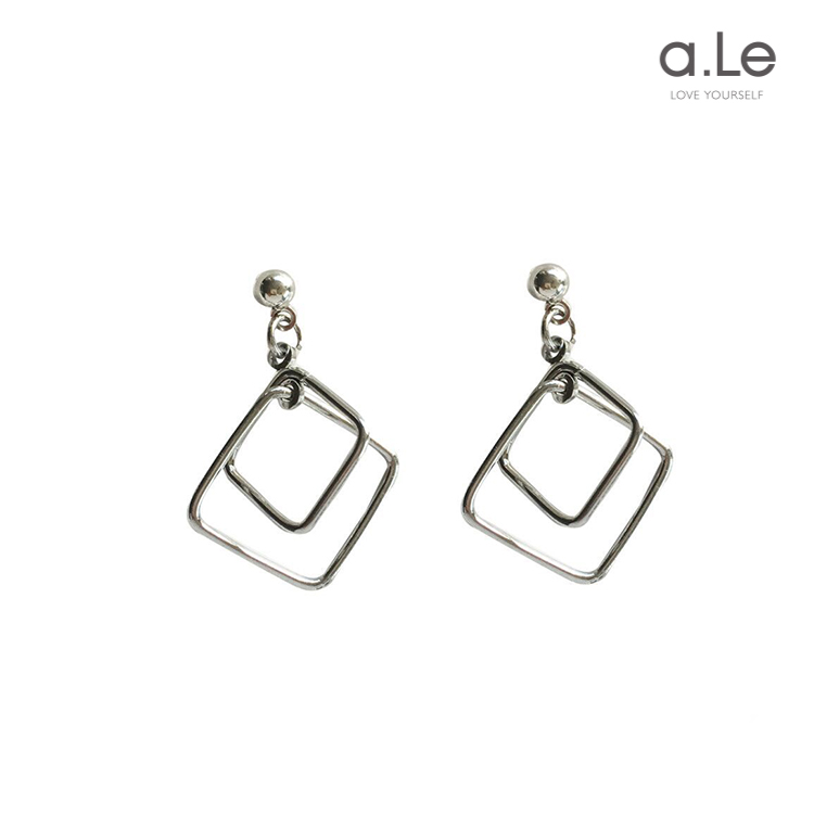 a. Le metal personality niche stereo multi-layer geometric shape 925 silver needle earrings and Earrings