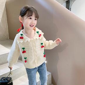 女童洋气开衫2021春装新款儿童毛衣小外套宝宝休闲上衣针织衫 1
