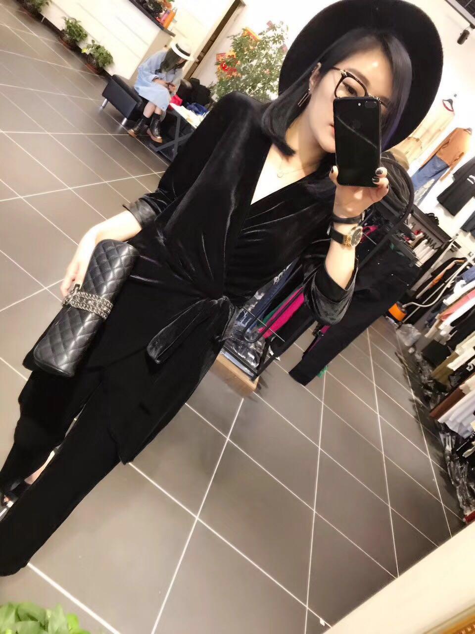 气质丝绒拼皮显瘦v领日式连衣裙 系带裹身收腰绑带阔腿裤黑色套装