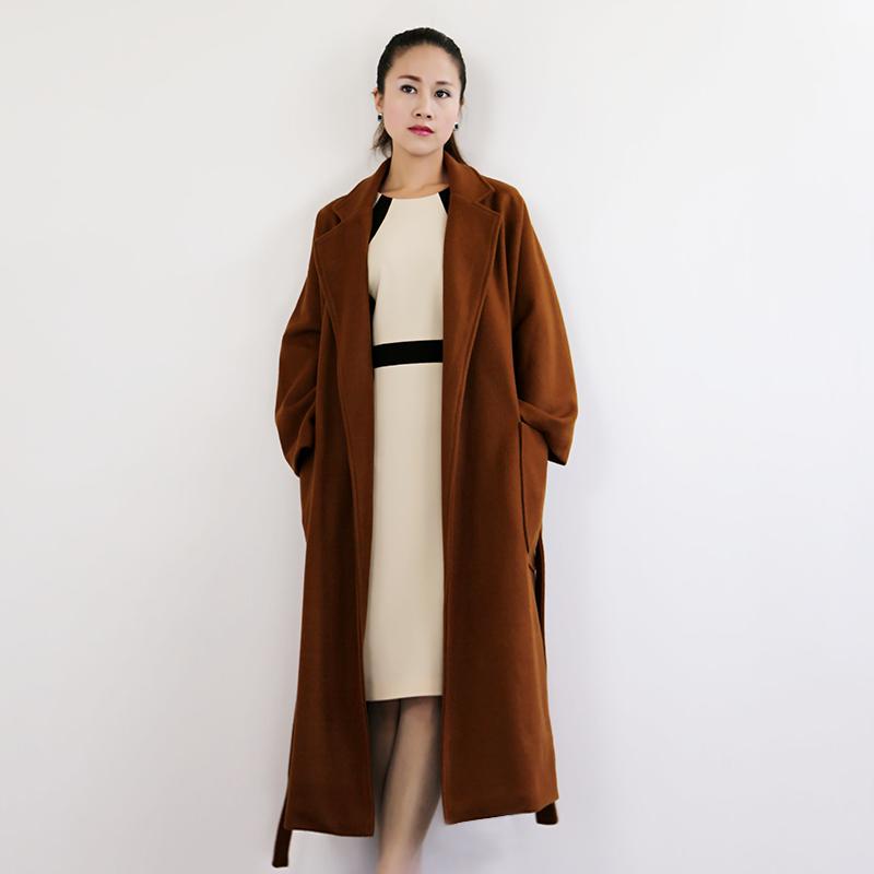 多芳米高端定制2017秋冬新款毛呢宽松女外套长款欢乐颂2同款大衣
