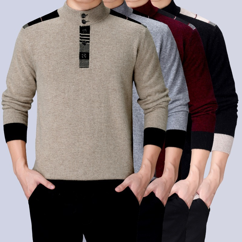New 20 winter middle aged mens cashmere sweater mens stand collar casual solid color classic warm sweater