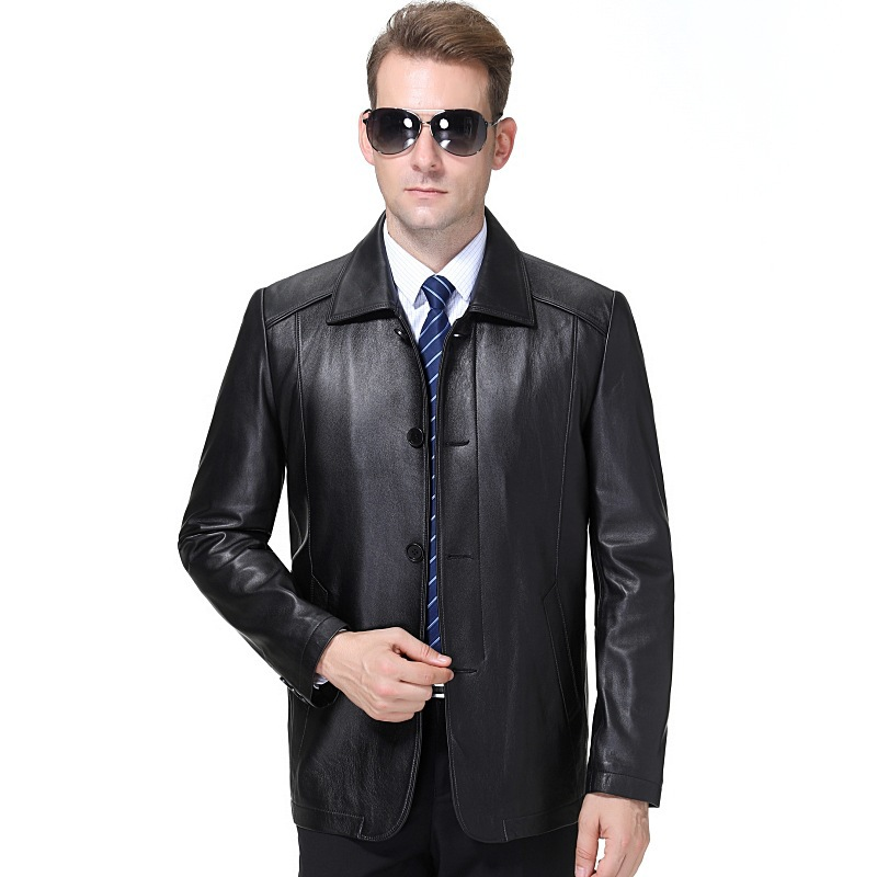 Middle aged man autumn winter 2020 fashion business Lapel Sheepskin Single breasted leather coat leisure metal decoration