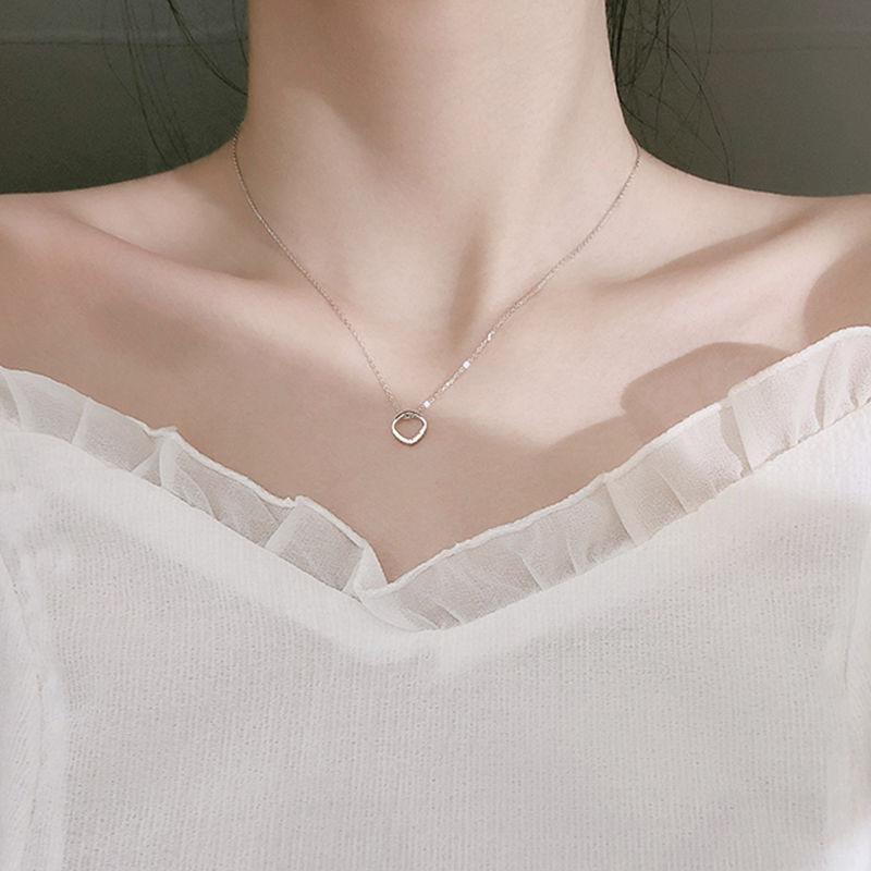 s925银项链女 几何方形项链ins简约甜美设计小众气质女锁骨链学生