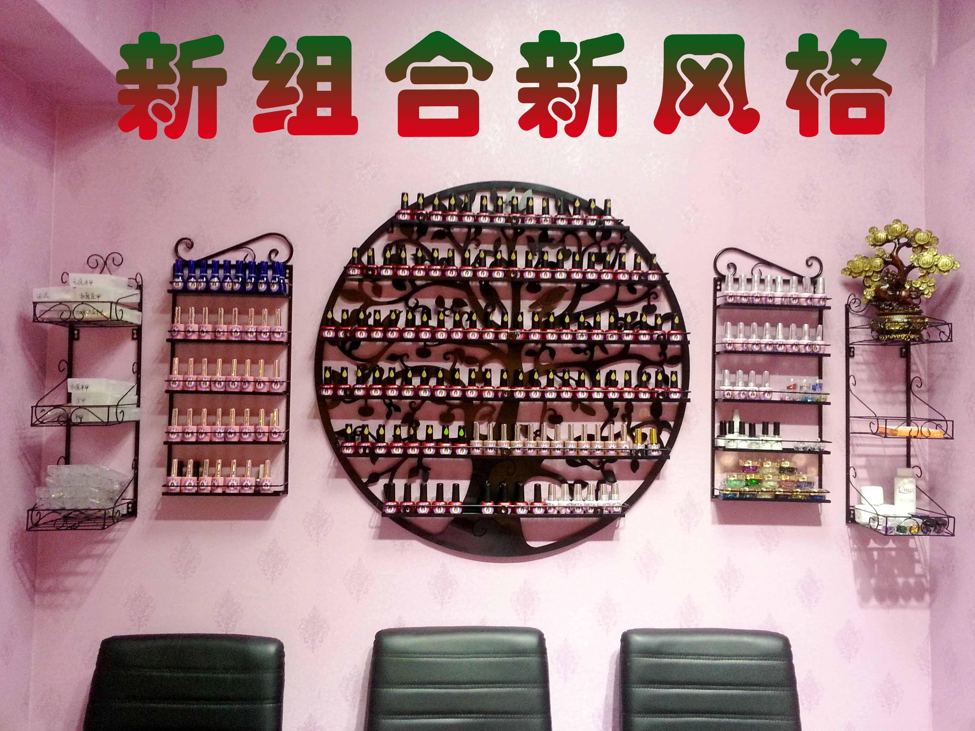 升级版美甲圆形货架展示架指甲油胶架子置物架化妆品壁挂包邮